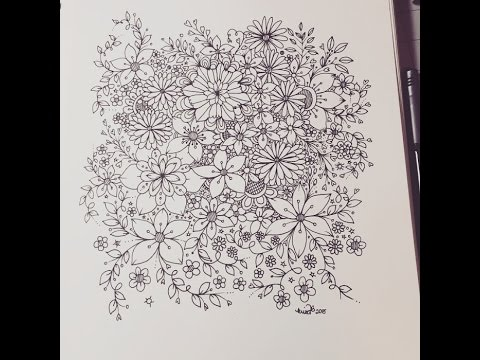 Zentangle Inspired Flowers Art Journal Entry Youtube