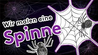 Wir malen eine Spinne 🕷 im Spinnennetz 🕸 Malen und Zeichnen lernen für Kinder und Mal-Anfänger 🎨