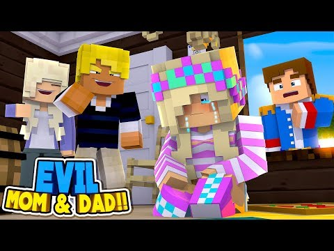 Minecraft: LEAH'S EVIL MOM & DAD LOCK HER IN THE BASEMENT!! Donny & Leah Adventures.
