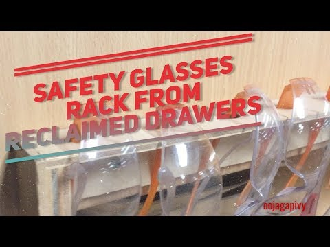 DIY Safety glasses rack from reclaimed plywood drawers