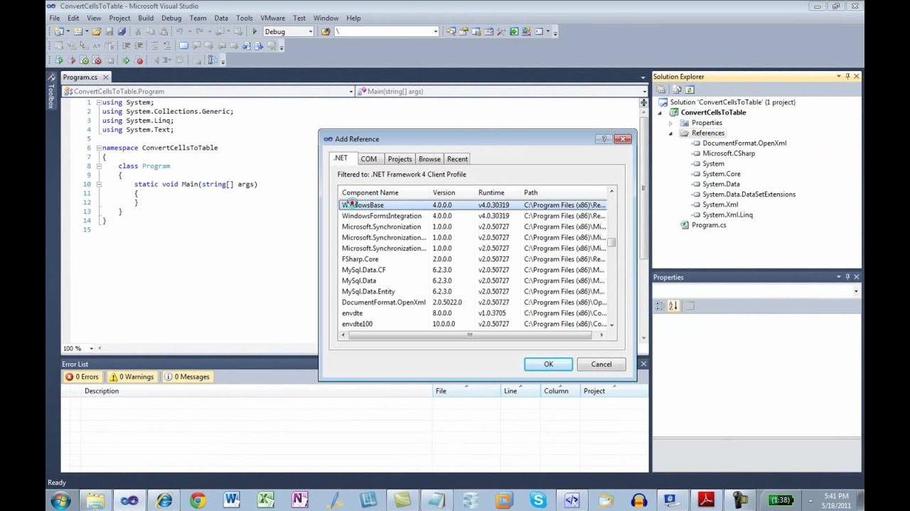Exploring Table Markup in Open XML SpreadsheetML | Eric White