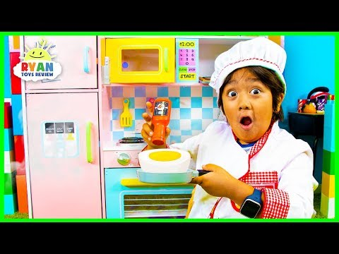 Ryan Pretend Play Cooking with Kitchen Play Set and Food Toys!!! - Видео онлайн