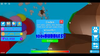 5 Codes In Bubble Gum Simulater! Roblox