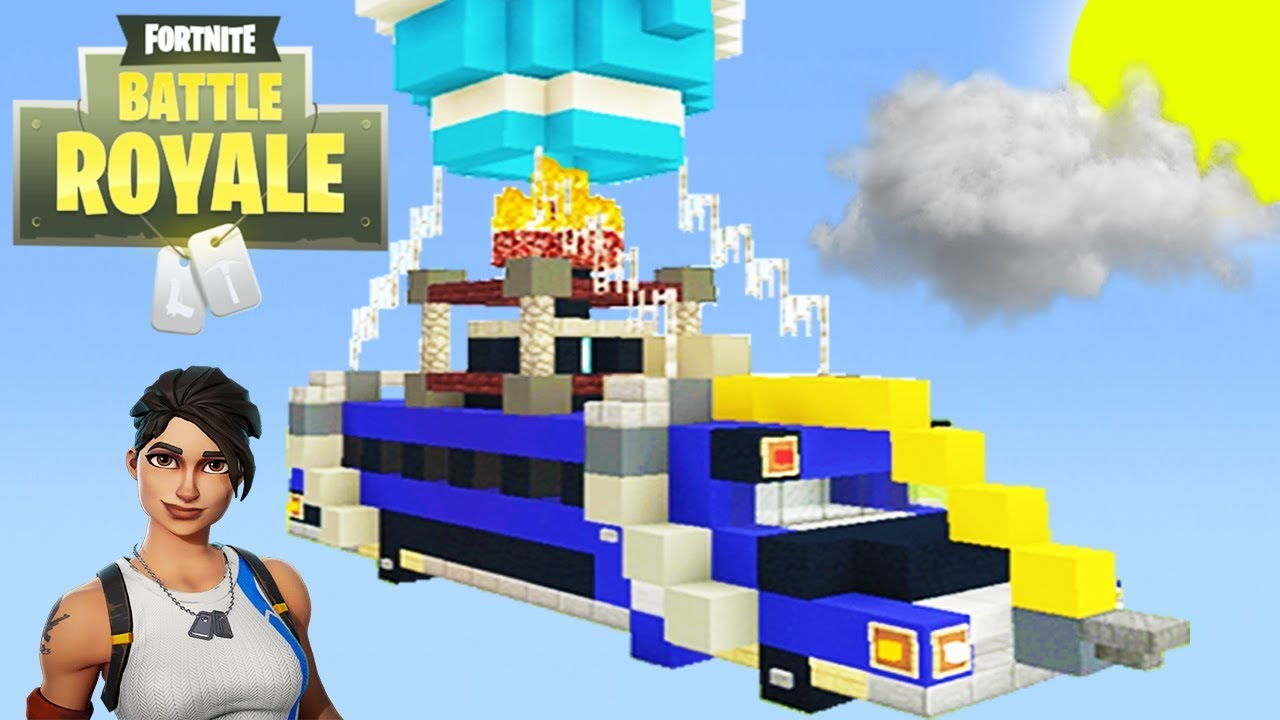 Minecraft Tutorial How To Make The Fortnite Battle Bus In Minecraft
