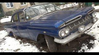 Chevrolet Impala 1959 года, Харьков 20 апреля 2017 после снегопада