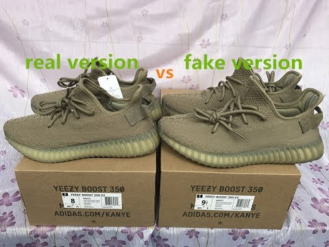low cost 4d0af d80f1 Adidas Yeezyboost 350 v2 dark green real version vs fake version