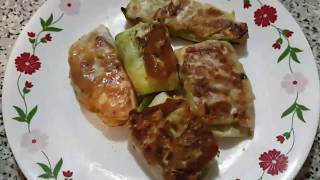 Recipe for cabbage rolls with chicken & potato in Hindi