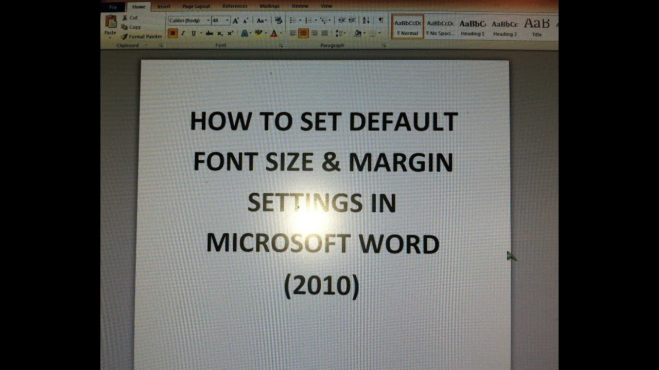 How To Set Default Font Size & Margin Settings (Microsoft Word 2010 ...