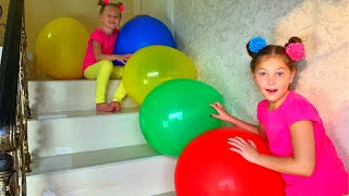 Learn colors with Balloons ! Kids have fun playtime with color song by Eva