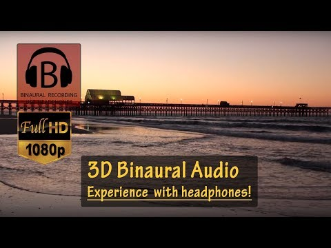 RELAXING [HD] Ocean Sunrise & Sounds #3 with Pier (Binaural 3D audio) -- Myrtle Beach, SC