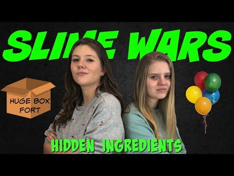 SLIME WARS  BALLOON POP SLIME  GIANT BOX FORT CHALLENGE  Taylor and Vanessa