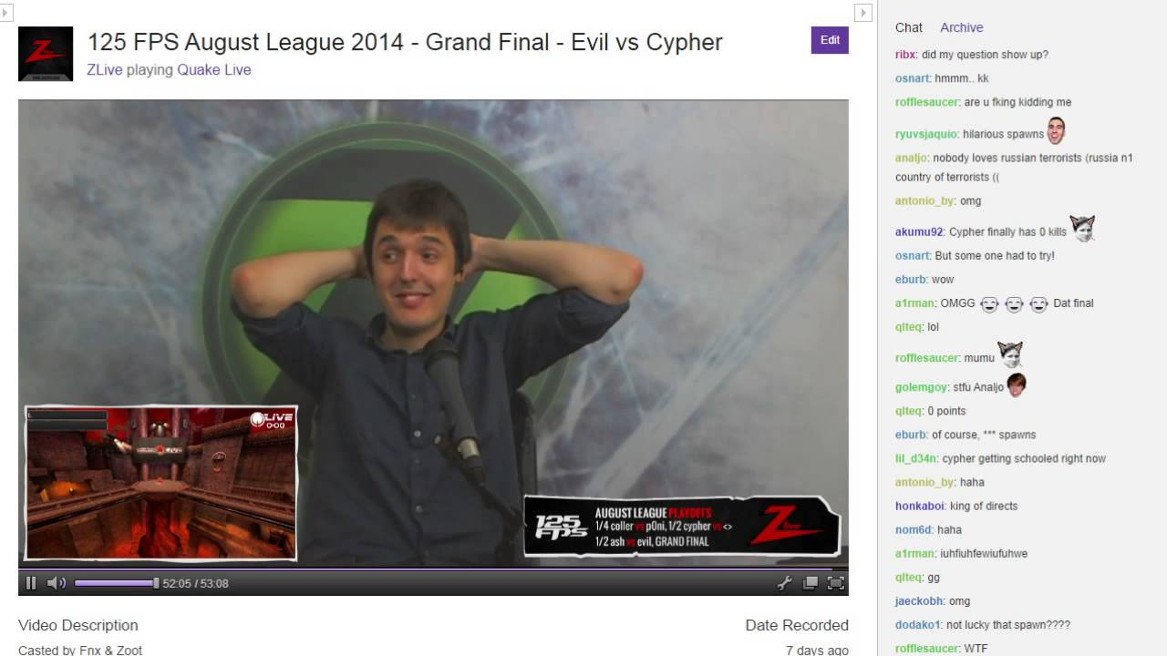 Chat Cam August League  Finals Lost World Climax Cypher Vs Evil
