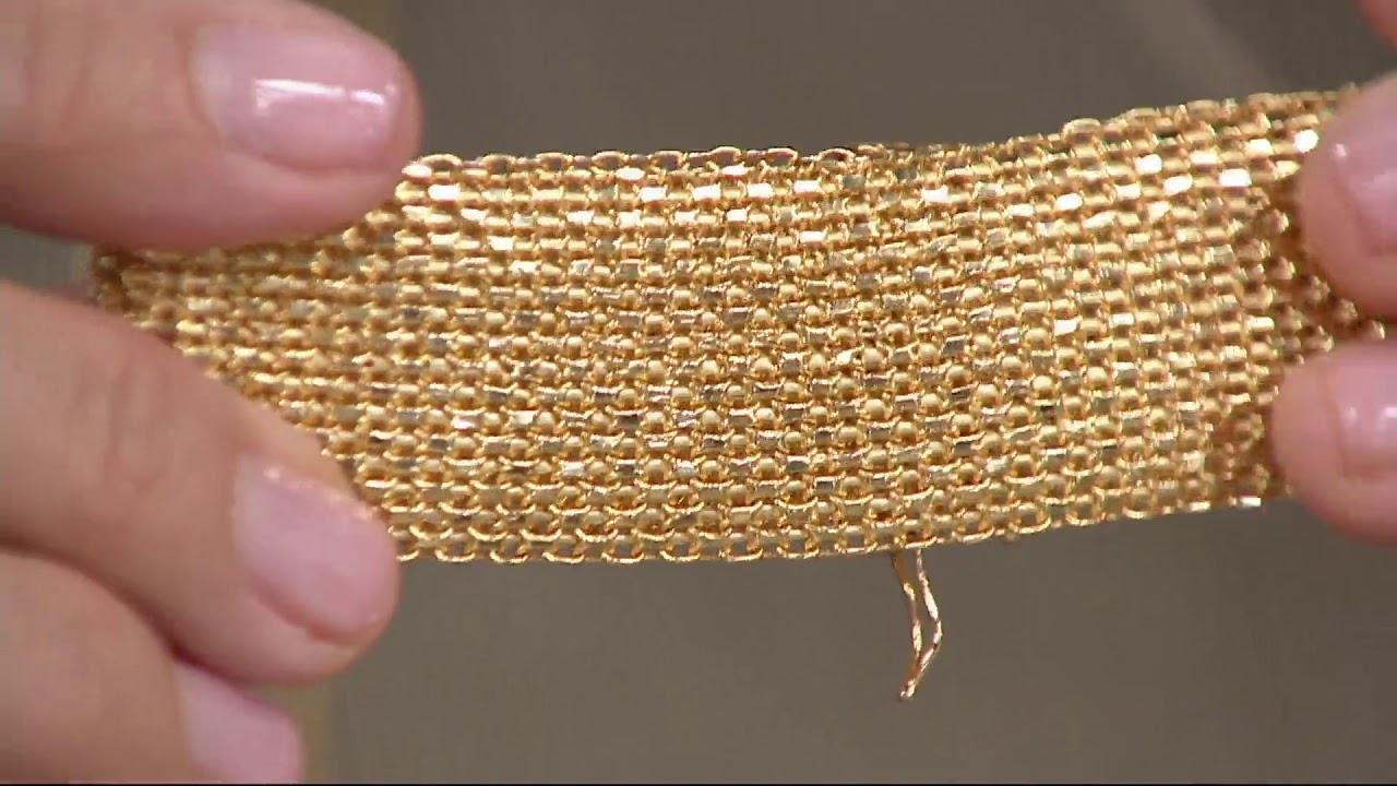 Italian Gold Wide Mesh Design Bracelet