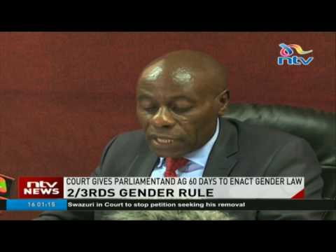 Parliament, AG given 60 days to enact gender law