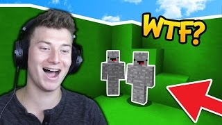 2 NOOBS FAIL TO CAMO TROLL in Minecraft SKYWARS! (I Am Stone Challenge)