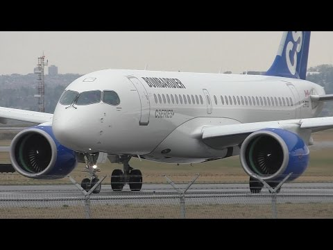 Bombardier CS100 [C-FFCO] Landing and Takeoff at Calgary Airport ᴴᴰ