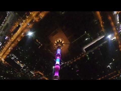 Night fpv drone dive near Ostankino tower in Moscow