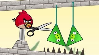Angry Birds Piggies Out - RESCUE THE THE BIRDS BY DROPPING TRIANGLE PIGS TO SPIKE!