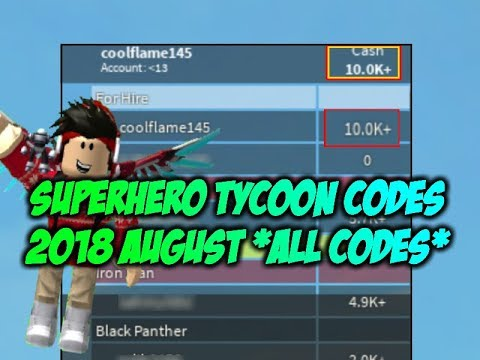 SUPER HERO TYCOON CODES 2018 AUGUST *ALL CODES*