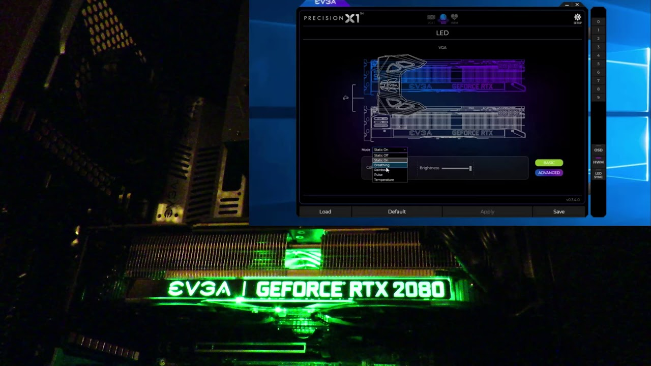 Adjusting LED lighting effects and noise on EVGA Geforce RTX 2080 XC Ultra
