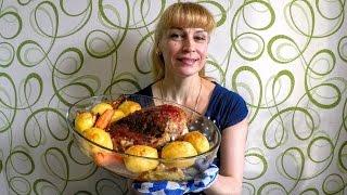 Индейка запеченная в духовке с мясным соусом вкусно и быстро