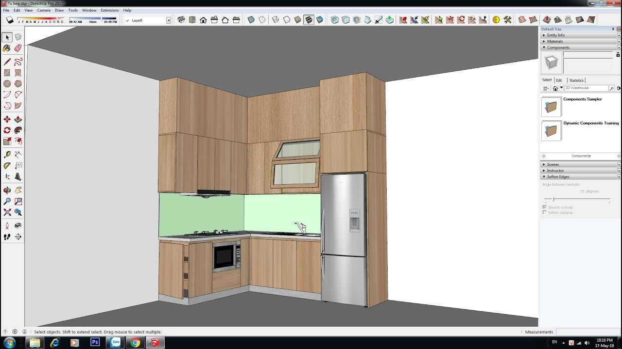 Hướng dẫn SketchUp – Bài 11 – Hướng dẫn vẽ tủ bếp chi tiết nhất bằng  Sketchup