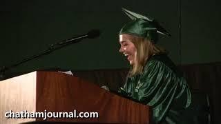 Graduating senior Caroline Blythe at 2018 Woods Charter School graduation.