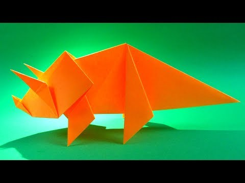 How To Make an Easy Origami Dinosaur - origami  triceratops