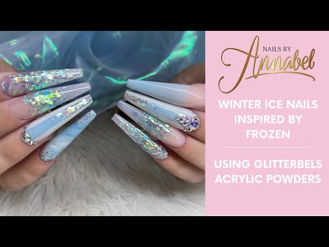 💎❄️Winter Ice All Glitterbels Sculpted Acrylic Design❄️💎marble,ombré,Glitter/colour blocking💎