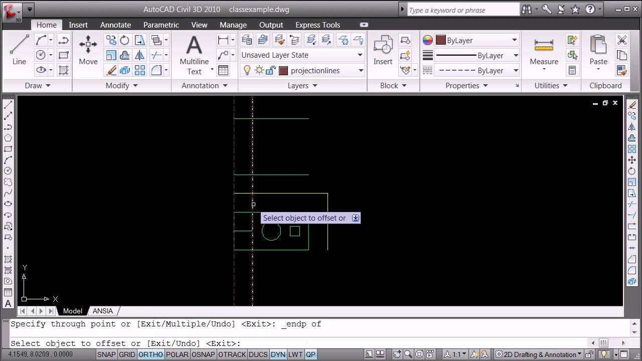 orthographic projection using autocad