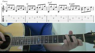 With Or Without You (U2)  - Easy Fingerstyle Guitar Playthough Tutorial Lesson With Tabs