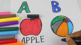 Learning colours and Alphabets A and B| colouring for Children's | Learning words