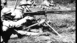 French soldiers firing a  Mle 1914 Hotchkiss machine gun HD Stock Footage