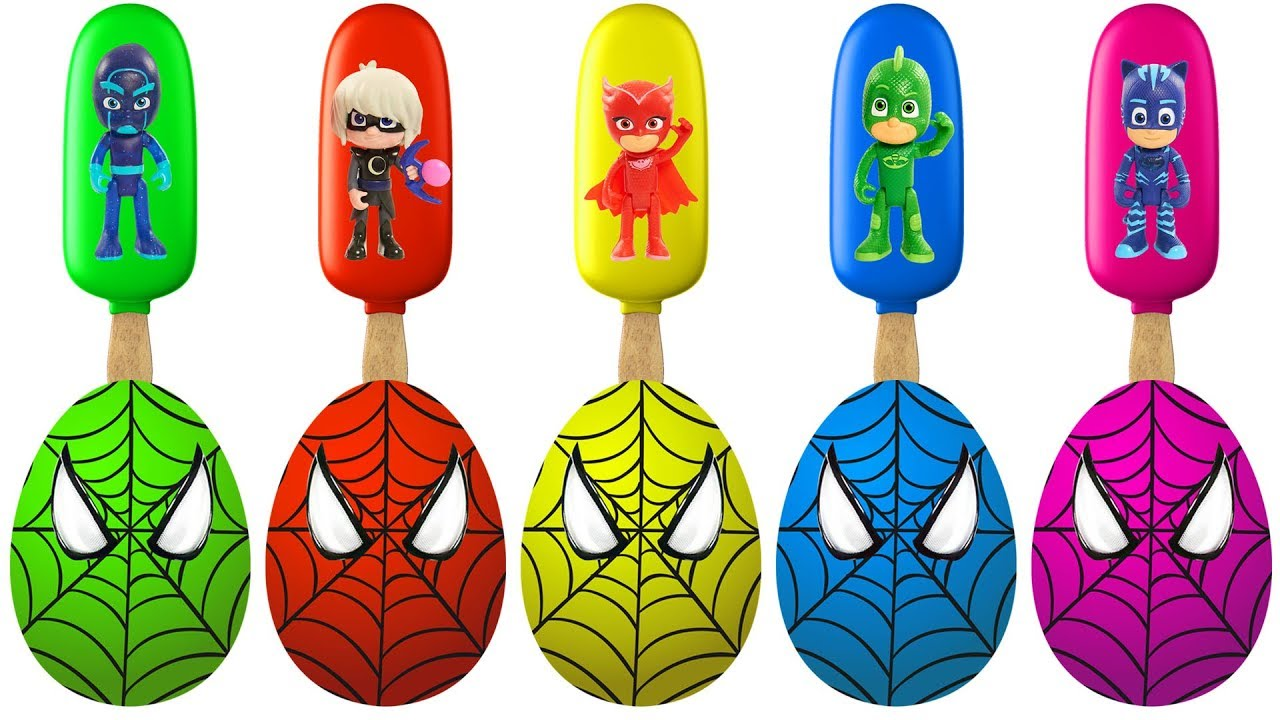 Spiderman Surprise Eggs Toy Pj Masks Ice Cream Finger Family Colors Learn