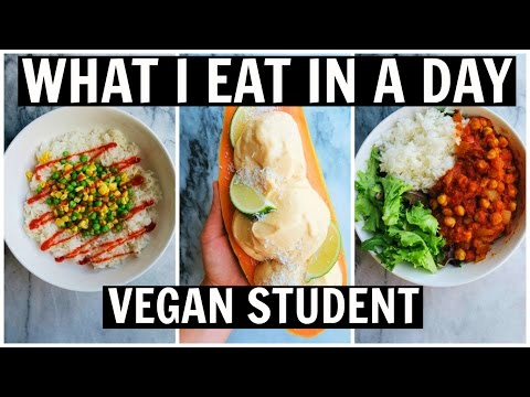 What I Eat in A Day as a VEGAN STUDENT || EASY + DELICIOUS