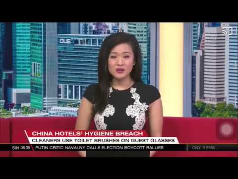 China hotels cleaners use toilet brushes on guest glasses