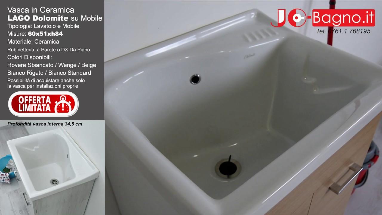 Piano Per Mobile Bagno lavatoio lago 61x50 dolomite con mobile lavanderia