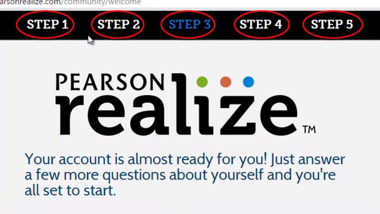 Pearson Realize: Creating a new account