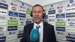 Duncan Ferguson reacts to his first Everton win, a legend at Goodison Park