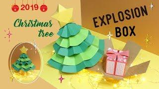 2019聖誕手作| 巨大聖誕樹爆炸盒(提供五角形爆炸盒版型下載)/ Christmas tree explosion box tutorial