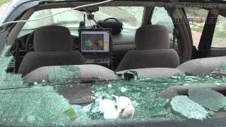 April 30th, 2012 Hail destroys window near Dodge City, Kansas
