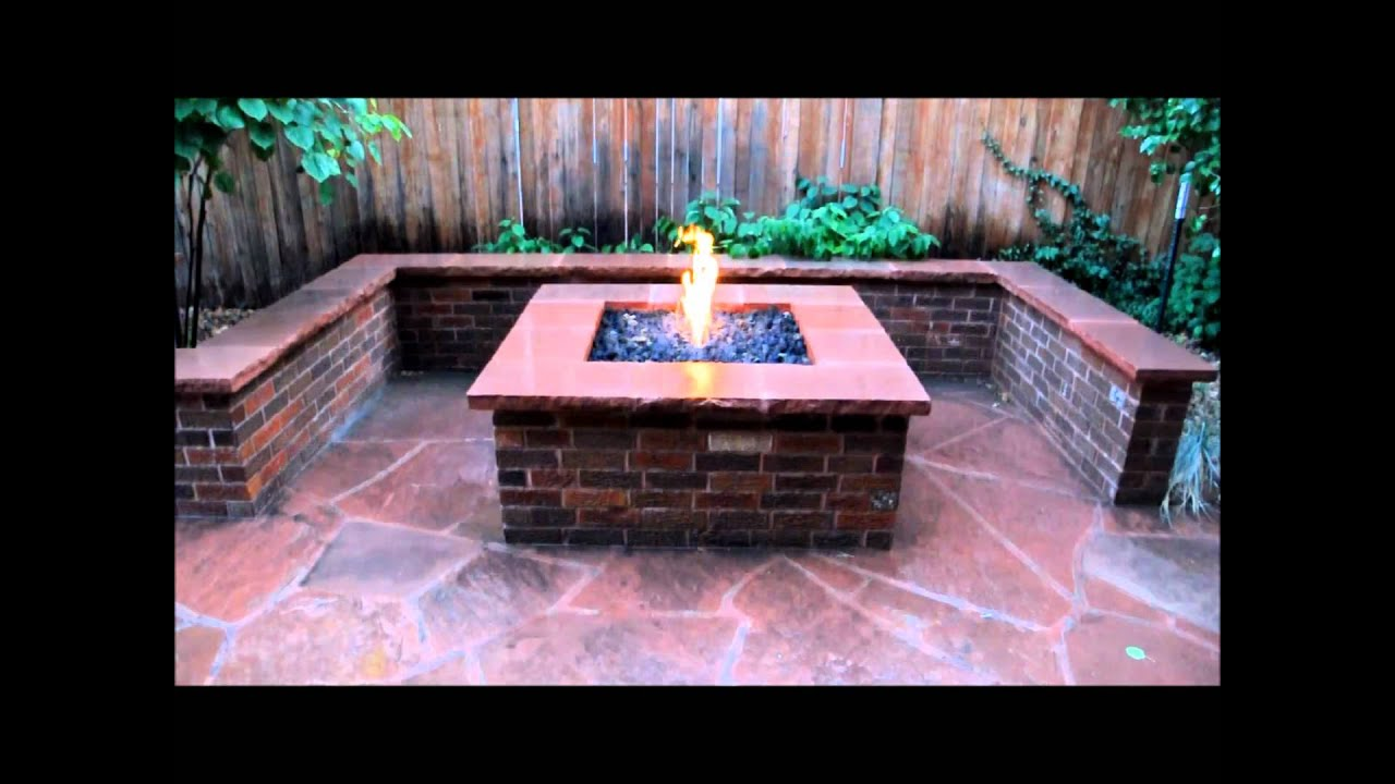 Brick Fire Pit, Seat Wall And Flagstone Patio   YouTube