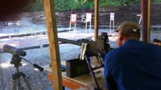 m1919 browning belt fed machine gun at the local gun range