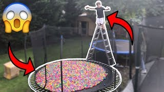 TRAMPOLINE FILLED WITH 10,000 BALL PIT BALLS!