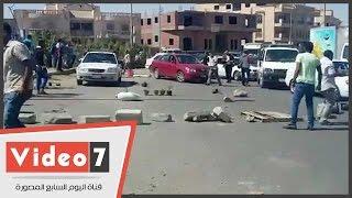 أهالى المجنى عليهم يقطعون طريق الرحاب احتجاجا على مقتل أحد أبنائهم