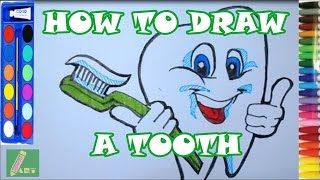 How to Draw a Tooth and Toothbrush | Drawing Step by Step [ HOW TO ART]