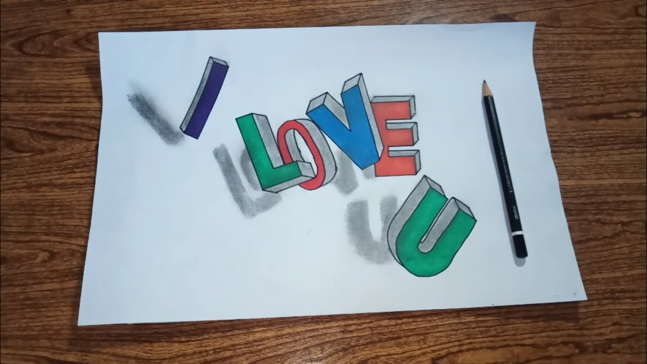Draw Graffiti On Paper Draw 3d Letters I Love You Youtube