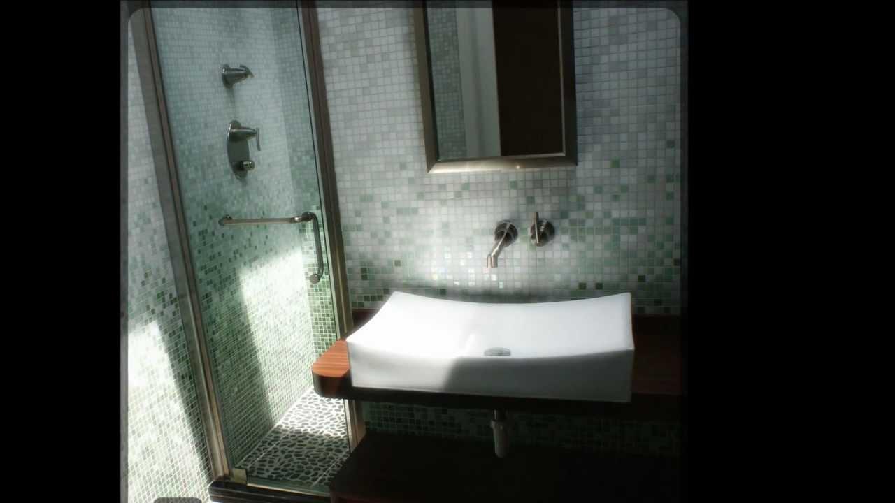 Custom Bath With Skylight Pebble Tiles On Shower Floor