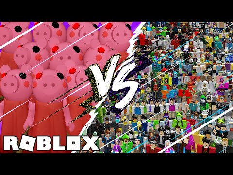 10 PIGGYS VS 100 PLAYERS! WHO WILL WIN?! / Roblox: Piggy