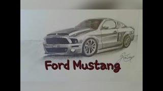 Speed Drawin Ford Mustang (Karakalem Ford Mustang çizimi)